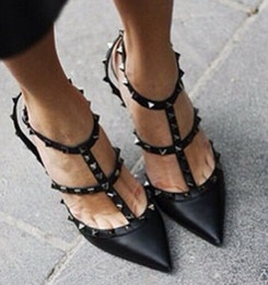 Wholesale Studded Sandals Fashion Pointed - free shipping Fashion desig patent leather Women Pumps Pointed Toe Sandals Slingback Studded T-Strap Rivet Valen High Heels shoes