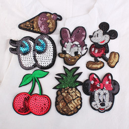Wholesale Cute Jean Dresses - Cute Cartoon Eye Mouse Pineapple Patches Sequins Embroidered Iron On Patch For Clothes Wedding Dress Jean DIY Motif Applique Decor