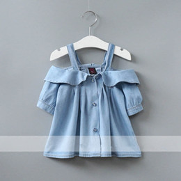 Wholesale Denim Shirts For Girls - Kids Shirt Summer Girl Off Shoulder Shirts Kids Denim Top Baby Girl Clothing Blue Color For 1~7 Year Girls