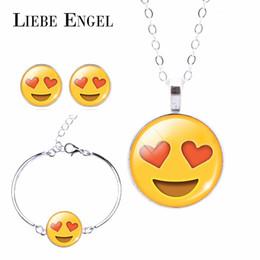 Wholesale Cuff Choker - 2016 Fashion Women Emoji Jewelry Set Stud Earrings & Moon Pendant Choker Necklace Charm Cuff Bracelets & Bangles joyas de plata
