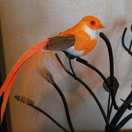 Wholesale Wholesale Decorative Magnets - 12*3CM 12PCS Decorative Birds Artificial Foam Feather Fake Small Bird With Magnet DIY Craft Decor For Wedding Party