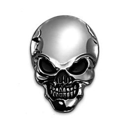 Wholesale Badges Automobiles - 8x5.5cm 3D Skull Metal Skeleton Car Stickers Label Skull Emblem Badge Auto Motorcycle Car Styling Accessories Automobiles