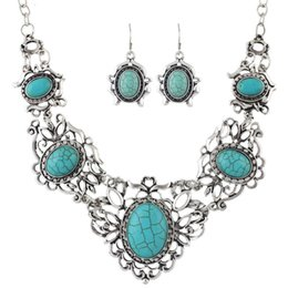 Wholesale Blue Turquoise Stone Necklace - Ethnic Jewelry Sets Antique Silver Color Big Blue Stone Flower Collar Maxi Necklace Female and Drop Earrings Vintage Accessories FNE357