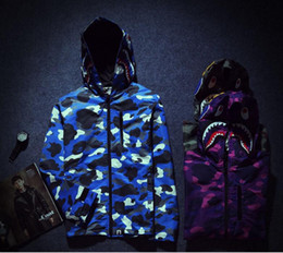 Wholesale Luminous Long Sleeve - new embroidery printing man jacket, luminous camouflage shark head men's windbreaker, men leisure thin coat Shark cotton jacket 1881*