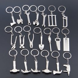 Wholesale 3d Drilling Tools - 3D Model Wrench metal opener key ring car keychain custom logo Advertising Tool Spanner Key chain hammer saw axe pliers Drill keyring Shovel