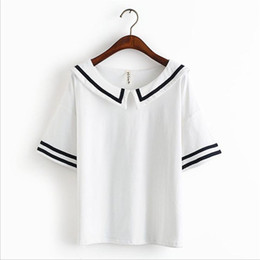 Wholesale Japanese Uniform Blue - Female Summer T shirt Navy Sailor Style Cotton T-shirt Women Tops Cute Japanese School Uniform For Girls 3Colors