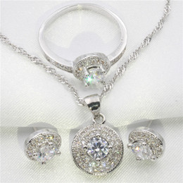 Wholesale Silver Emerald Pendants - The round white topaz covered 925 sterling silver jewelry set women earrings pendant ring size 6 7 8 9
