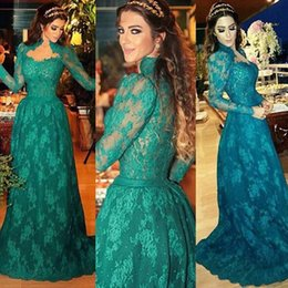 Wholesale Evening Gown Night Dress - Vintage 2017 Long Sleeve Evening Gowns Green Lace A-line Formal Prom Dresses Night Wear Robe Oriental Arabe