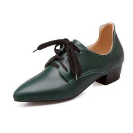 Wholesale thick british women - 2017, spring and autumn in the British wind, thick with pointed lace, fashion leisure, solid color shoes ST 75-3