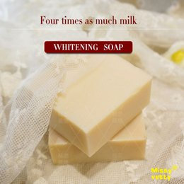 Wholesale Process Soap - Four times milk brightening nourish handmade soap natural pure skin care body treatment minimize the dark spot cold process 80g