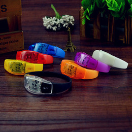 Wholesale Led Bracelets Wholesale - Music Activated Sound Control Led Flashing Bracelet Light Up Bangle Wristband Club Party Bar Cheer Luminous Hand Ring Wholesale 3003182