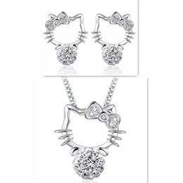Wholesale S925 Sterling Necklace - Shambhala Hello Kitty Stud Earrings Necklaces Set Jewelry Cute KT Cat S925 Sterling Silver Ear Stud Pendant Statement Necklaces with Crystal