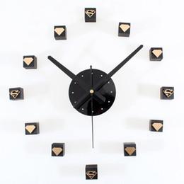 Wholesale Big Black Stickers - Modern Decorative Diy 3D Wall Clock Acrylic Mirror Quartz Wall Stickers Clocks for Living Room Home Office Decoration Mirror Big 3d clock
