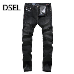 Wholesale Mens Strong - Wholesale- New Fashion Mens Black Jeans Ripped Denim Trousers Slim Fit Strong Stretch Jeans Men Dsel Brand Jeans Elastic With Logo 707-5