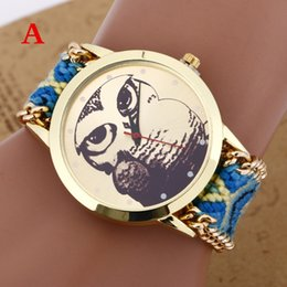 Wholesale Green Glass Owl - 2017 New Handmade Rope Bracelet Owl Campanula Wristwatches Bohemia Geneva Golden Chain Fabric Watch Fashion Women Casual Watch