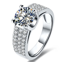 Wholesale Famous Wedding Rings - Imitation Famous Brand 2CT SONA Synthetic Diamond Jewelry Propose For Women Wedding Sterling Silver Jewelry Engagement Ring 925