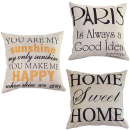 Wholesale Letter Cushion Covers - Wholesale- Decorate Homes Cotton Linen Pillow Letter Alphabet Sunshine Paris Throw Pillow Case Cover Cushion Forest Beds Seat Pillowcases
