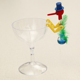 Wholesale Model Bird Toy - Wholesale- New Novelty Dippy Drinking Bird With Plastic Glass Best Gift Model Toys Kit For Children Kids