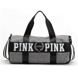 Wholesale Pink Fringe - New Women VS Love Pink Victoria Fringe Handbags Large Capacity Travel Duffle Striped Waterproof Beach Bag Shoulder Bag