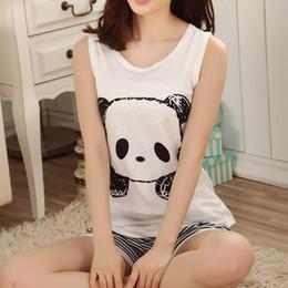 Wholesale womens summer pyjamas - Wholesale- Hot Summer panda Pajamas set sleeveless sleepwear animals printed womens girls Pyjamas cartoon vest pajamas suit