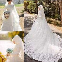 Wholesale dresses east - Saudi Arabic Dubai Middle East Muslim Lace Wedding Dresses Vestidos De Novia Vintage High Neck Long Sleeves Appliques Bridal Wedding Gowns