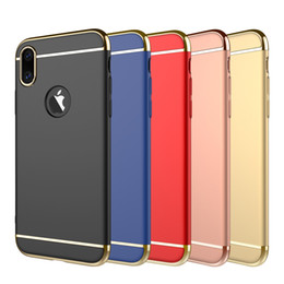 Wholesale Hybrid Cell Phone Cases Wholesale - For iphone X iphone 8 case 3 in 1 luxury hybrid electroplating hard PC cell phone cases for iphone 7 samsung galaxy s8 plus note 8