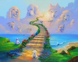 Wholesale Rainbow Heaven - RAINBOW BRIDGE All Dogs Go to Heaven Art Print On Canvas. NO.J002