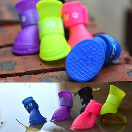 Wholesale Socks For Rain Boots - Smale dogs Teddy Pet dog shoes antiskid Candy color Waterproof Protective Rubber Pet rain boots galoshes for dog Cat