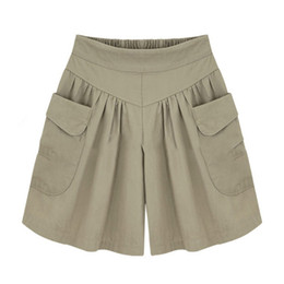 Wholesale Lady Summer Short Legging - Raodaren 2017 Summer Plus size Short women Wide Leg Female Shorts Casual Loose Ladies Khaki High waist thin pantalones cortos