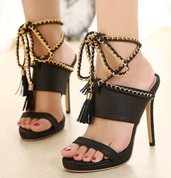 Wholesale ladies black strappy sandals - The New Summer Ladies Sexy High-heeled Strappy Sandals