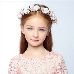 flower girl floral headpieces Promo Codes - Beauty Children's Girls wreath headdress performance headband baby princess hair band flower headpieces double-layer half-ring wreath 2017