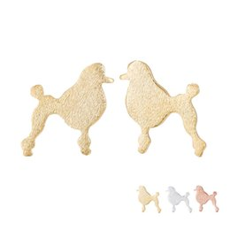 Wholesale 18k Gold Material - Hot Selling Cute Baby Dog Poodle Earring Copper Material Fashion Studs Earrings Accessories Jewelry EFE124