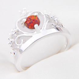Wholesale Wholesale Jewelry 925 Usa - 10pcs lot Mix Color Wholesale Holiday Jewelry Gift Party Jewelry Newest Fire Opals Gems 925 Sterling Silver Ring USA Size 7 8 9