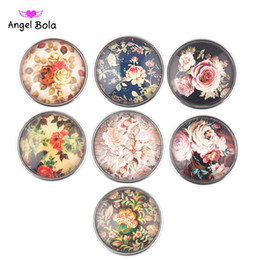 Wholesale slingshot metal - wholesale 20mm Mixed color colorful flowers Noosa chunk metal copper glass snaps buttons for snap bracelet DIY slingshot jewelry AB-024