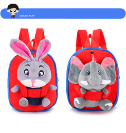Wholesale Cute Pig Plush Toy - New 8 style children cartoon plush toy schoolbag cute mickey rabbit elephant pig hello kitty kindergarten baby backpack child Backpack