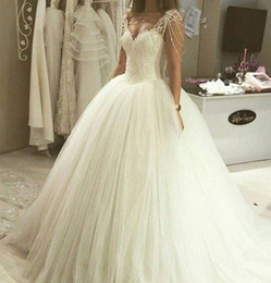 Wholesale Crystal Dropped Waist Bridal Gowns - Modest Princess Ball Gown Wedding Dresses Cap Sleeve Tassel Lace Top Tulle Skirt Drop Waist Bridal Gowns Plus Size