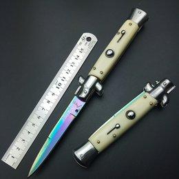 Wholesale Ox Bone Knife - Italy AKC mafia 9 inch acrylic black ox bone handle color titanium pocket knife folding knife camping knife xmas gift freeshipping
