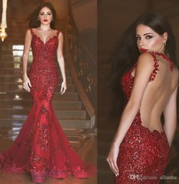 Wholesale Light Pink Tulle - 2017 Burgundy Sexy Mermaid Prom Dresses Sheer Neck Spaghetti Straps Lace Illusion Backless Bead Floor Length Formal Evening Party Gown