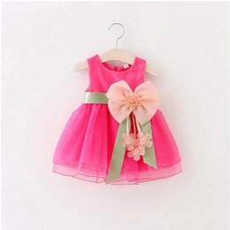 Wholesale Bud Light Dress - Baby Kids Clothing 2017 vintage Flower girls dresses Summer children Solid Bow Ball gowns princess costume party dress toddler clothes #0012