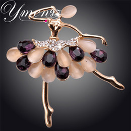 Wholesale Agate Pin - Wholesale- YMENGZ Angle Design Gold Crystal Agate Figure Gold Plated Crystal Brooches&Pin For Women Fashion Jewelry Wholesale