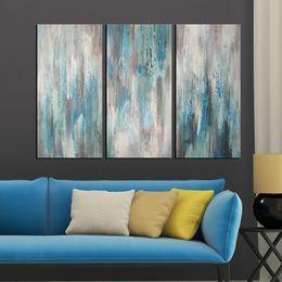 Wholesale Panel Artwork - KGTECH Artwork 3 Panels Oil Painting Modern Abstract Canvas Art Decor Wall Art Handpainted Unstretcher 12x24H inch x3