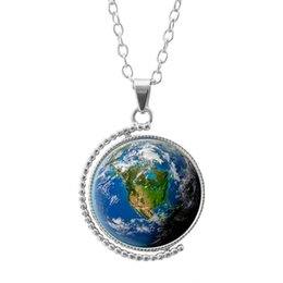 Wholesale Planet Pendant - Earth World Map Double Face Hot Rotating Glass Dome Jewelry Vintage Globe Necklace Planet Necklace Glass Art Dome