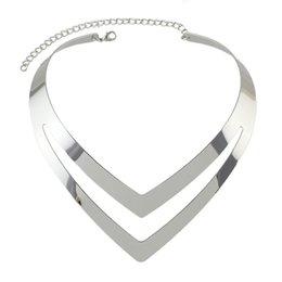Wholesale V Shape Gold Necklace - New Hot Minimalist Jewelry Punk Rock Style Gold-Color Silver Color Choker Necklace V Shape Geometric Torques Statement Necklace