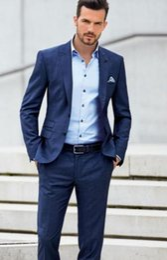 Wholesale Designer Handkerchiefs - Wholesale- 3Pieces(Jacket+Pant+Handkerchief)Bule Custume Made Fashion Terno Masculino Suit Brand Formal Slim Fit Tuxedos Designer Men Suits