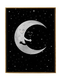 Wholesale Hugs Pictures - Cartoon Moon Hug Canvas Art Print Poster, Wall Pictures for Home Decoration, Child Room Wall