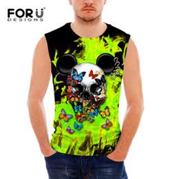 Wholesale Top Designers Wholesale - Wholesale- FORUDESIGNS Summer Tank Tops 3D Print Skull Designer spandex Breathable Basic Shirt for men Bodybuilding Fitness Mens Undershirt