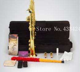 Wholesale brass processing - wholesale Original Henlucky WSS-5042QJ Soprano Saxophone Bb Musical Instrument Saxe gold plated Process Sax Professional saxofone