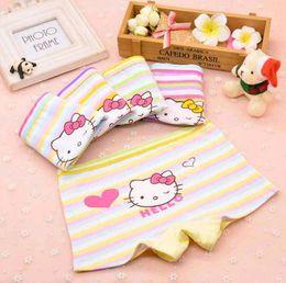 Wholesale cotton stripe panties - New Cartoon Lovely Girls Boxers Cotton Stripe Cat Heart Print Children Kids Underwear Panties for Sale