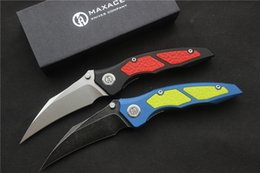 """Wholesale G Queen - High quality,Maxace Red Yellow Blue Queen folding Knife, Aluminum,G-10 Inlay (4"""" Stonewash),Outdoor camping hunting hand tools."""