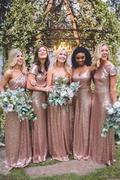 Wholesale Cheap Formal Dresses Girls - Rose Gold Sequined Plus Size Bridesmaids Dresses 2017 A Line Mix Styles Long Length Cheap Simple Girls Wedding Maid Of Honors Formal Gowns